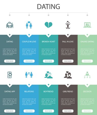 Dating Infographic 10 option UI design.couple in love, fall in love, dating app, relations simple icons