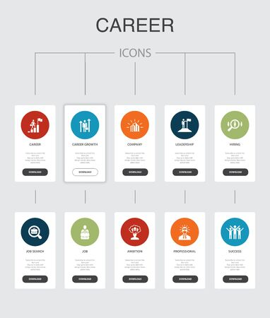 Infografía de carrera Diseño de interfaz de usuario de 10 pasos.Compañía, liderazgo, contratación, búsqueda de empleo, iconos simples Ilustración de vector
