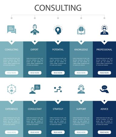 Consulting Infographic 10 option UI design.Expert, knowledge, experience, consultantsimple icons
