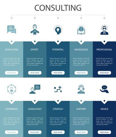Diseño de interfaz de usuario de opciones de infografía de consultoría 10 Experto, conocimiento, experiencia, consultores iconos simples Ilustración de vector