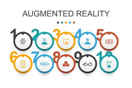 Augmented reality Infographic design template.Facial Recognition, AR app, AR game, Virtual Reality icons 向量圖像