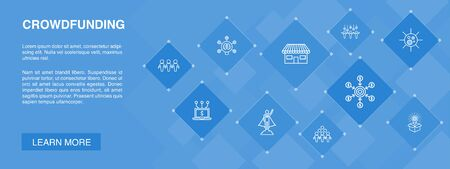 Crowdfunding banner 10 icons concept.startup, product launch, funding platform, community simple icons