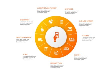payment Infographic 10 steps circle design. Invoice, money, bill, discount icons