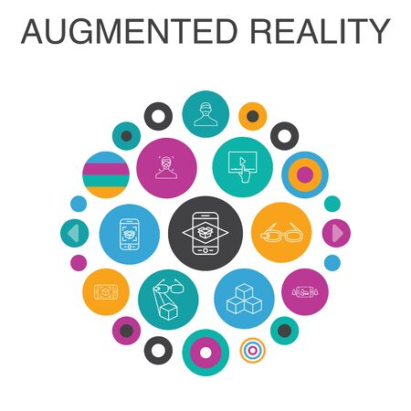 Augmented reality Infographic circle concept. Smart UI elements Facial Recognition, AR app, AR game, Virtual Reality