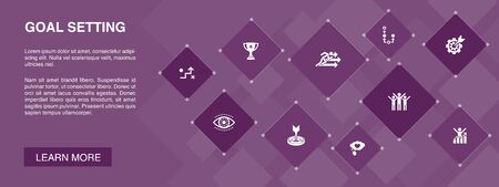 goal setting banner 10 icons concept.dream big, action, vision, strategy icons
