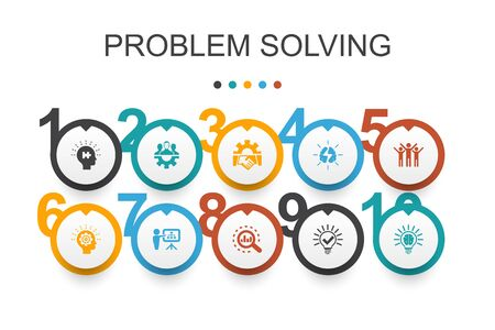 problem solving Infographic design template.analysis, idea, brainstorming, teamwork icons