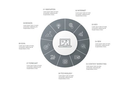digital strategy Infographic 10 steps circle design.internet, SEO, content marketing, mission simple icons
