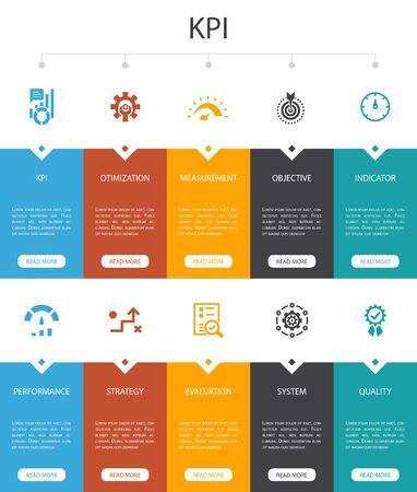 KPI Infographic 10 option UI design. optimization, objective, measurement, indicator simple icons 向量圖像