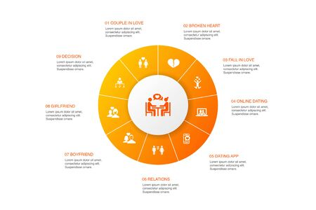 Dating Infographic 10 steps circle design. couple in love, fall in love, dating app, relations icons Illusztráció