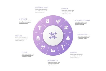 biohacking Infographic 10 steps circle design.organic food, healthy sleeping, meditation, drugs icons