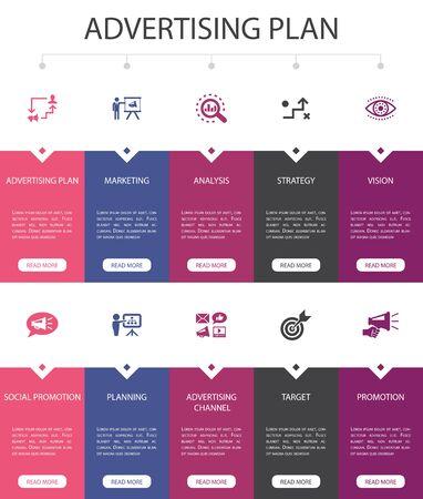 Advertising Plan Infographic 10 option UI design.marketing, strategy, planning, target simple icons 일러스트