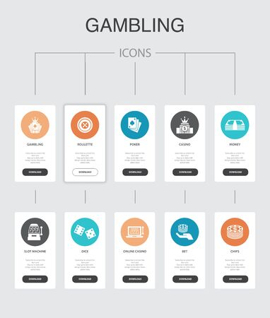 gambling nfographic 10 steps UI design.roulette, casino, money, online casino simple icons