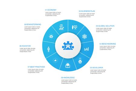 Development Infographic 10 steps circle design. global solution, knowledge, investor, Brainstorming icons