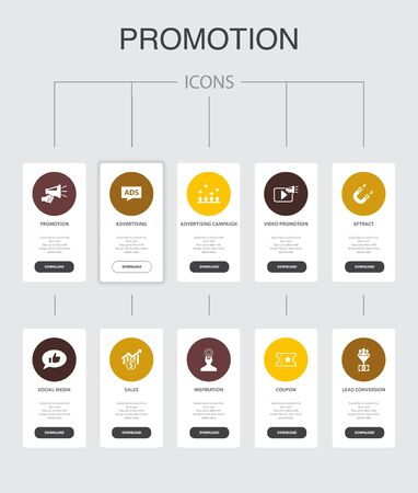 Promotion Infographic 10 steps UI design.advertising, sales, lead conversion, attract simple icons
