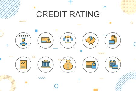 credit rating trendy Infographic template. Thin line design with Credit risk, Credit score, Bankruptcy, Annual Fee 向量圖像