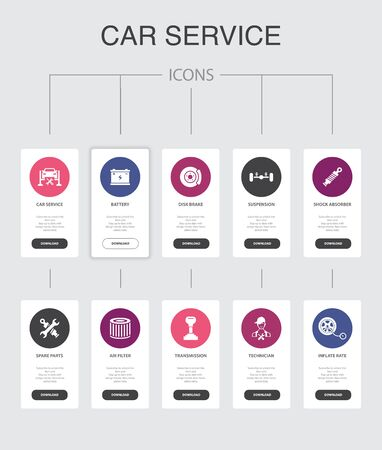 Car service Infographic 10 steps UI design.disk brake, suspension, spare parts, Transmission simple icons
