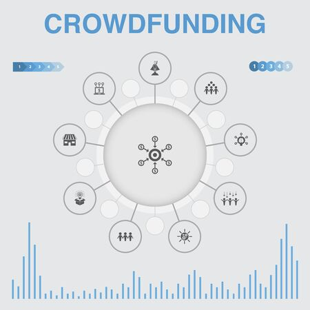 Crowdfunding infographic with icons. Contains such icons as startup, product launch, funding platform, community