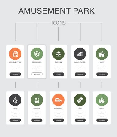amusement park Infographic 10 steps UI design.Ferris wheel, Carousel, Roller coaster, carnival simple icons