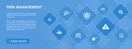 risk management banner 10 icons concept.control, identify, Level of Risk, analyze icons