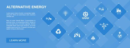 Alternative energy banner 10 icons concept.Solar Power, Wind Power, Geothermal Energy, Recycling icons 向量圖像
