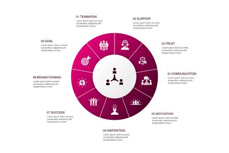 collaboration Infographic 10 steps circle design. teamwork, support, communication, motivation icons