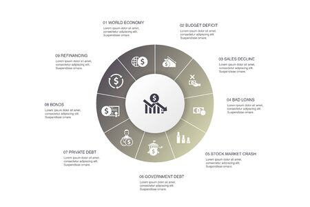 financial crisis Infographic 10 steps circle design.budget deficit, Bad loans, Government debt, Refinancing icons