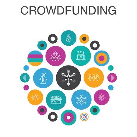 Crowdfunding Infographic circle concept. Smart UI elements startup, product launch, funding platform, community Ilustração