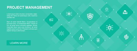 Project management banner 10 icons concept.Project presentation, Meeting, workflow, Risk management icons
