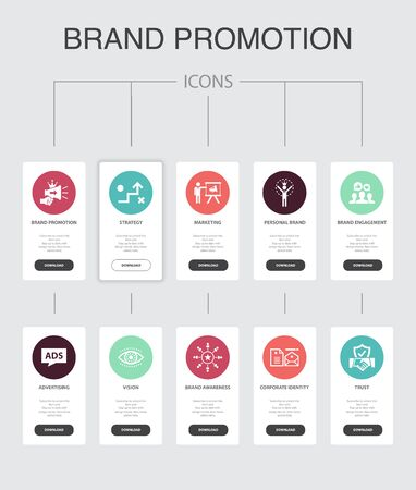 brand promotion Infographic 10 steps UI design.strategy, marketing, personal brand, advertising simple icons