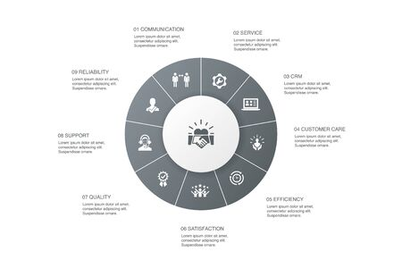 customer relationship Infographic 10 steps circle design. communication, service, CRM, customer care icons Illusztráció