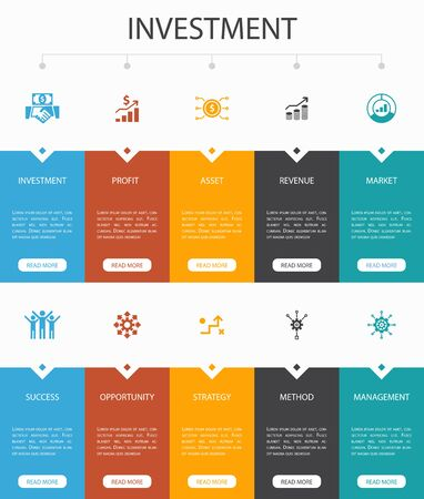 Investment Infographic 10 option UI design.profit, asset, market, successsimple icons