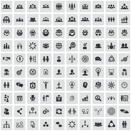 travail d'équipe 100 icônes ensemble universel pour le web et l'interface utilisateur