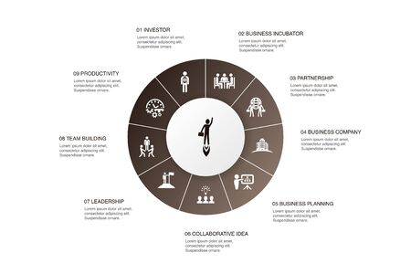 Entrepreneurship Infographic 10 steps circle design.Investor, Partnership, Leadership, Team building icons