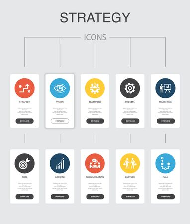 Strategy Infographic 10 steps UI design.goal, growth, process, teamwork simple icons