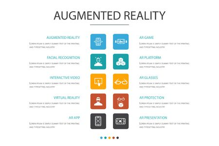 Augmented reality Infographic 10 option concept.Facial Recognition, AR app, AR game, Virtual Reality icons