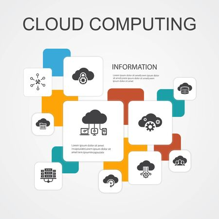Cloud computing Infographic 10 line icons template.Cloud Backup, data center, SaaS, Service provider simple icons