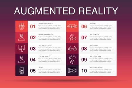 Augmented reality Infographic 10 option template. Facial Recognition, AR app, AR game, Virtual Reality simple icons 向量圖像