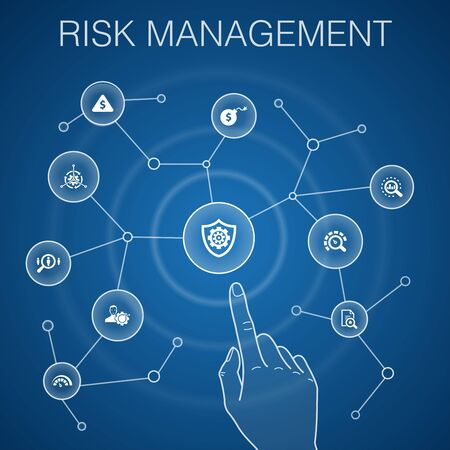 risk management concept, blue background.control, identify, Level of Risk, analyze