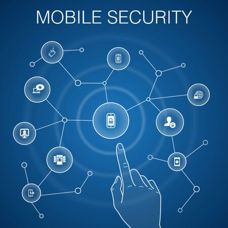 mobile security concept, blue background.mobile phishing, spyware, internet security, data protection icons