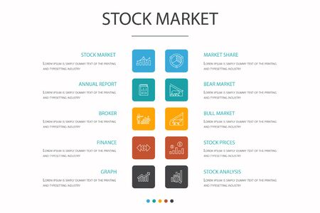 Stock market Infographic 10 option concept. Broker, finance, graph, market share simple icons Ilustracja