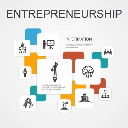 Entrepreneurship Infographic 10 option line concept.Investor, Partnership, Leadership, Team building simple icons