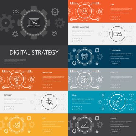digital strategy Infographic 10 line icons banners.internet, SEO, content marketing, mission icons Vectores