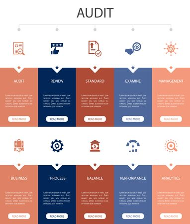audit Infographic 10 option UI design.review, standard, examine, process simple icons Ilustração
