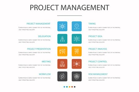 Project management Infographic 10 option concept. Project presentation, Meeting, workflow, Risk management simple icons Illustration