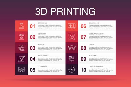 3d printing Infographic 10 option template. 3d printer, filament, prototyping, model preparation simple icons