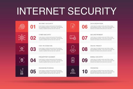 Internet Security Infographic 10 option template. cyber security, fingerprint scanner, data encryption, password simple icons