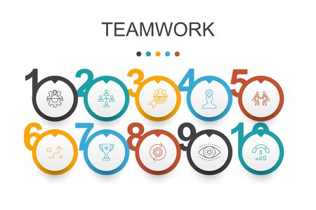 Teamwork Infographic design template.collaboration, goal, strategy, performance simple icons