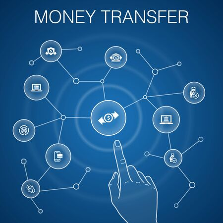 money transfer concept, blue background.online payment, bank transfer, secure transaction, approved payment icons