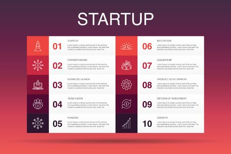 Startup Infographic 10 option template. Crowdfunding, Business Launch, Motivation, Product development simple icons