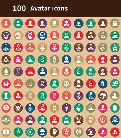avatar 100 icons universal set for web and UI. Vetores